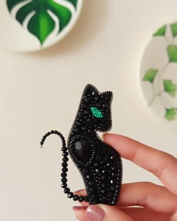 سنجاق سینه جواهردوزی گربه