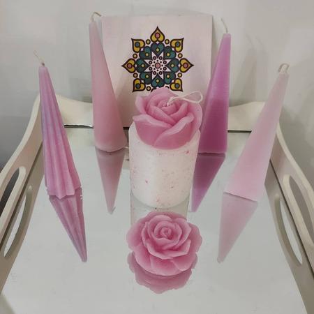 شمع آبرنگی گل رز صورتی