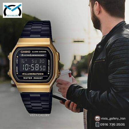 ساعت کاسیو casio مدل a168w black gold